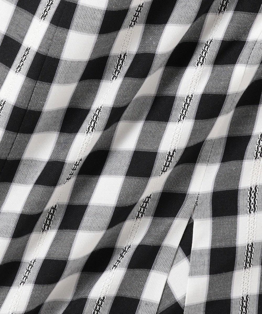 Feroux 【洗える】T/Cドビーギンガム ワンピース ブラック系3