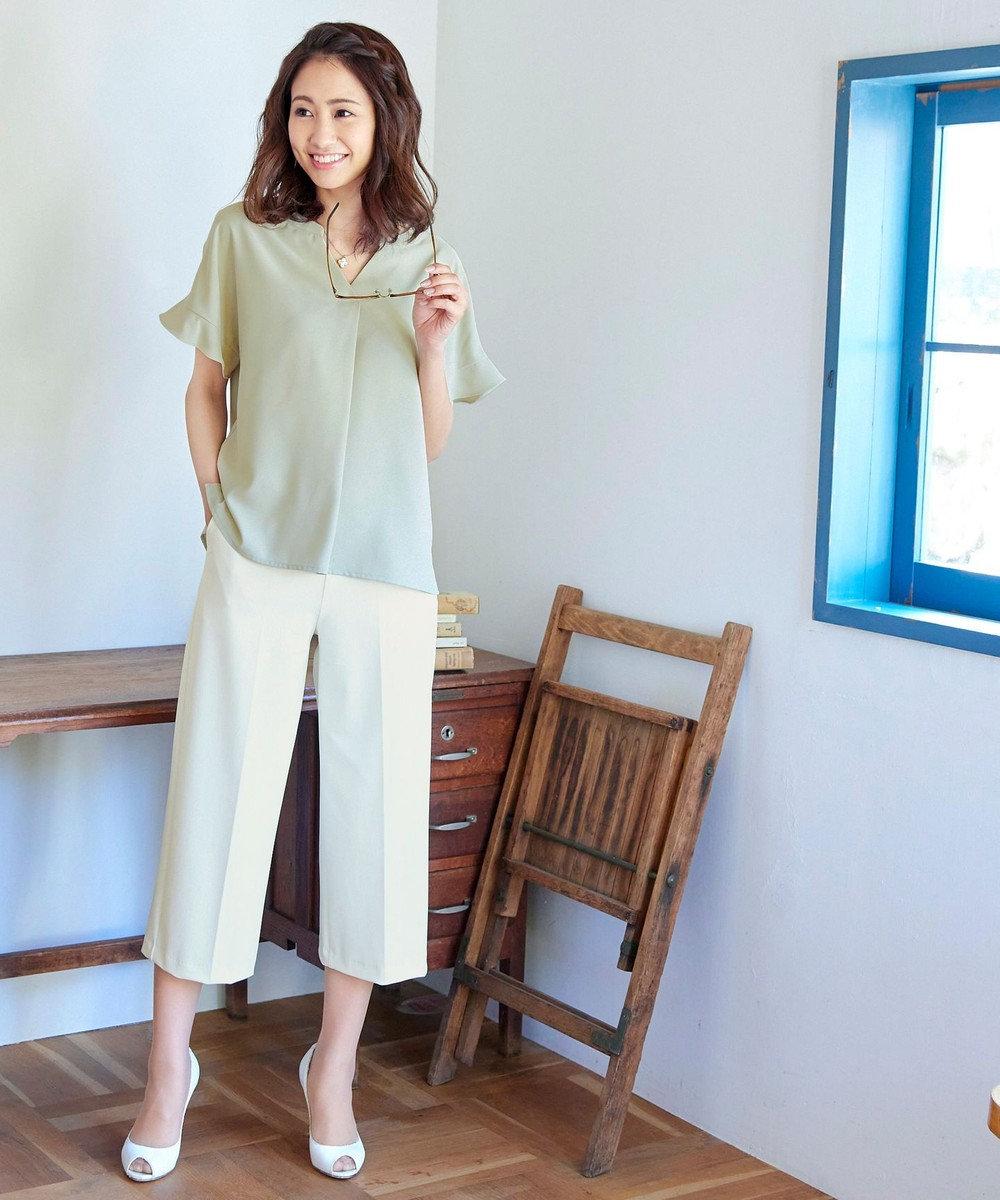 Tiaclasse 【日本製・洗える】快適な着心地のセオαワイドパンツ オフホワイト