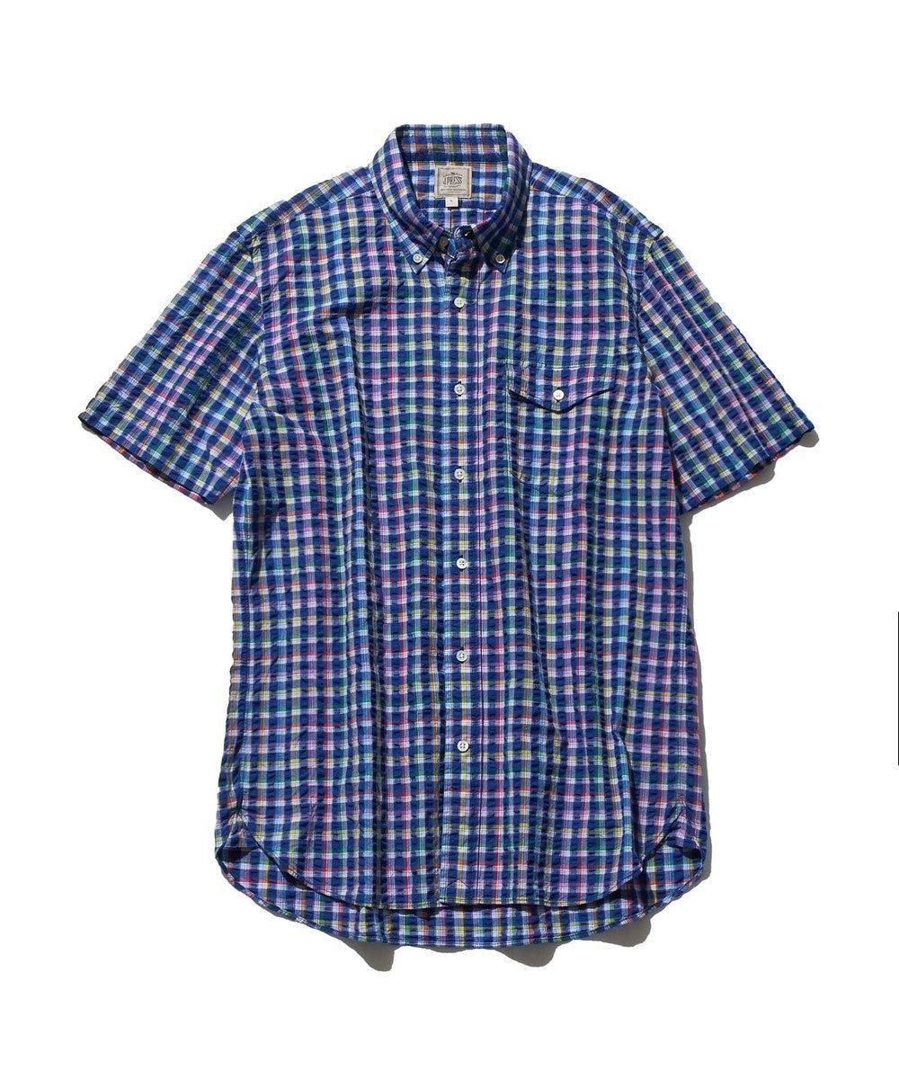 J.PRESS MEN サッカーストライプ/チェック ボタンダウンシャツ ブルー系9