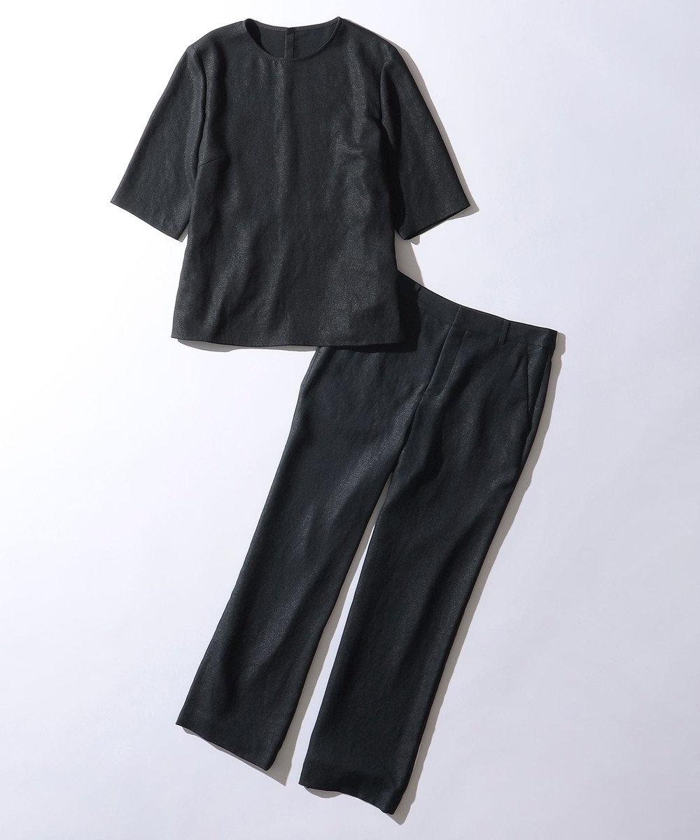 23区 【洗える】プレンウェーブ ストレッチ ワイドパンツ ネイビー系