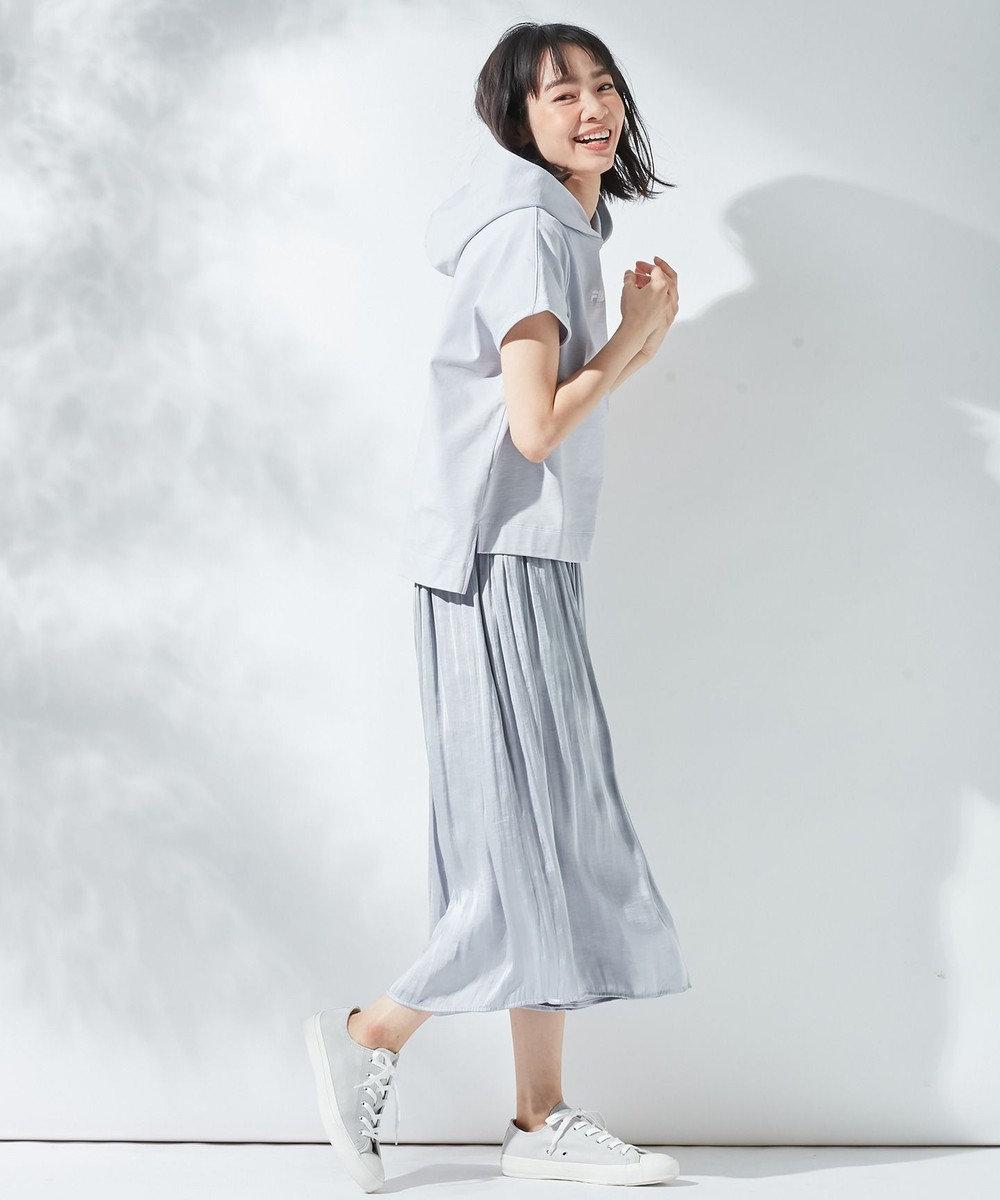 組曲 【オールシーズン活躍!洗える】ヴィンテージサテン ギャザーボトム ライトグレー系