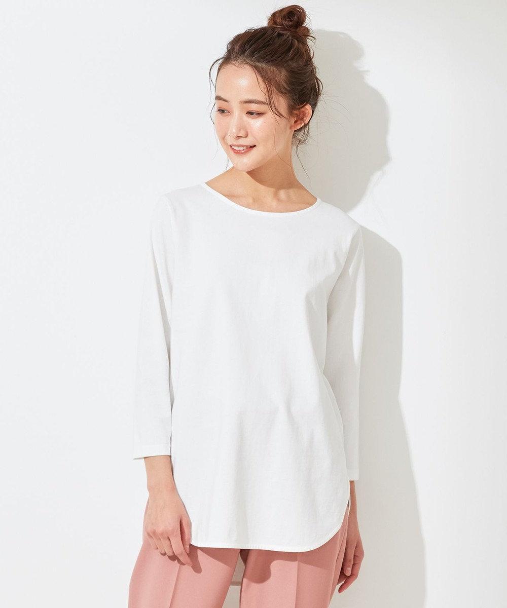 any SiS S 【洗える】シャツテイル カットソー ホワイト系
