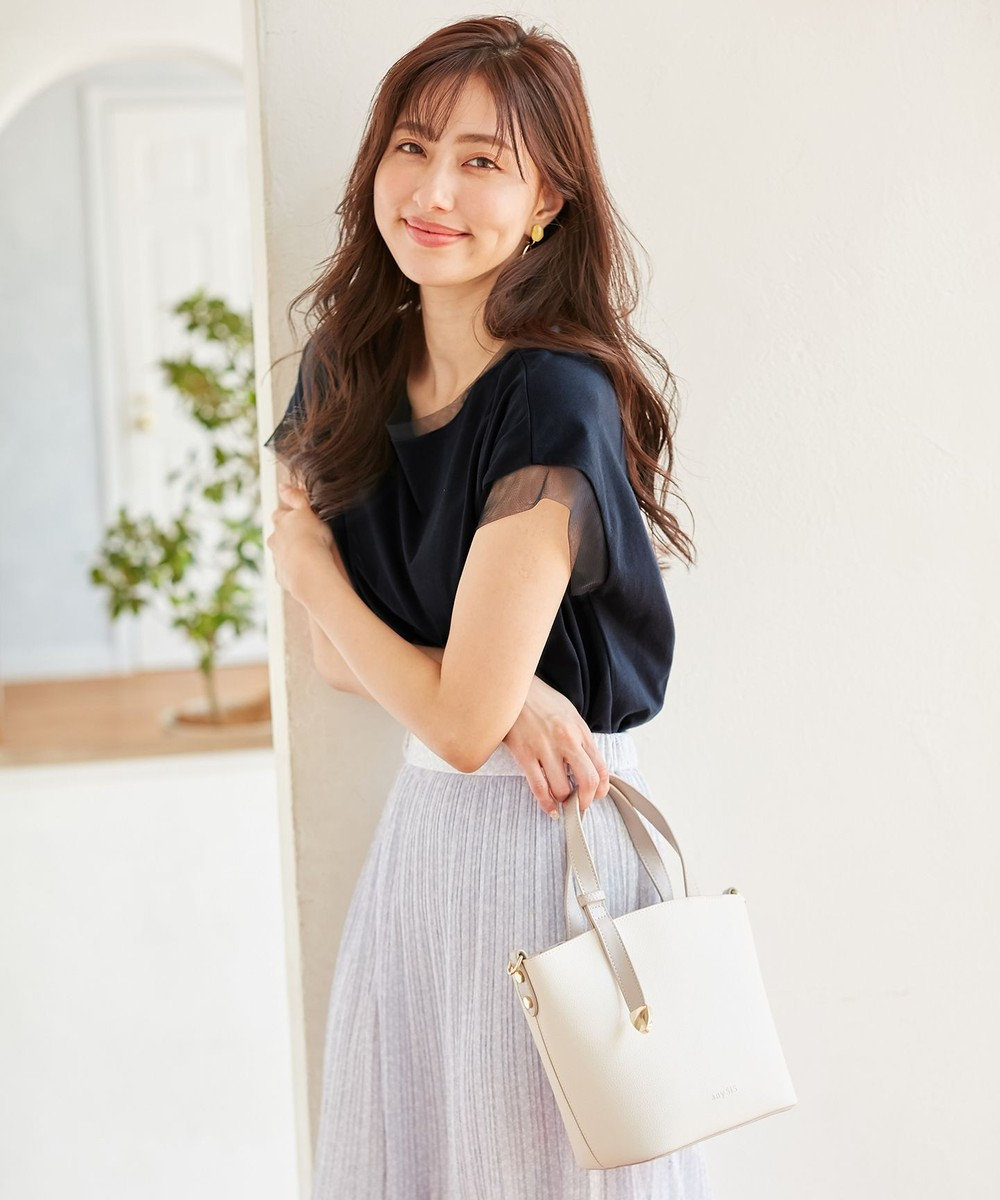 any SiS 【北見ハッカコラボ】フレンチスリーブ トップス ネイビー