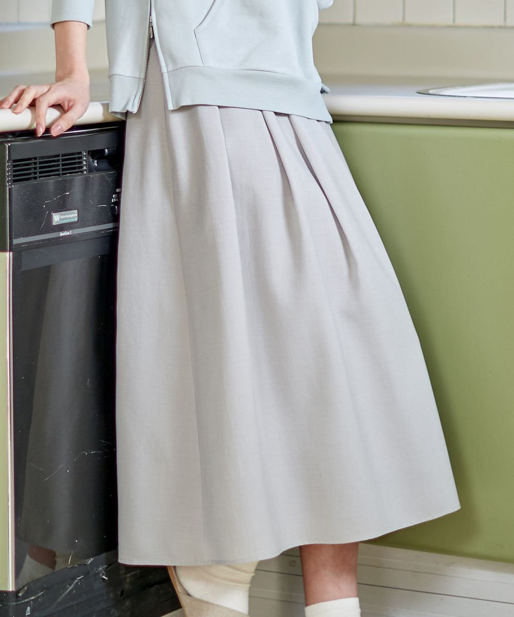 J.PRESS LADIES L 【洗える】シックアンドシンボイル  フレアスカート ベージュ系
