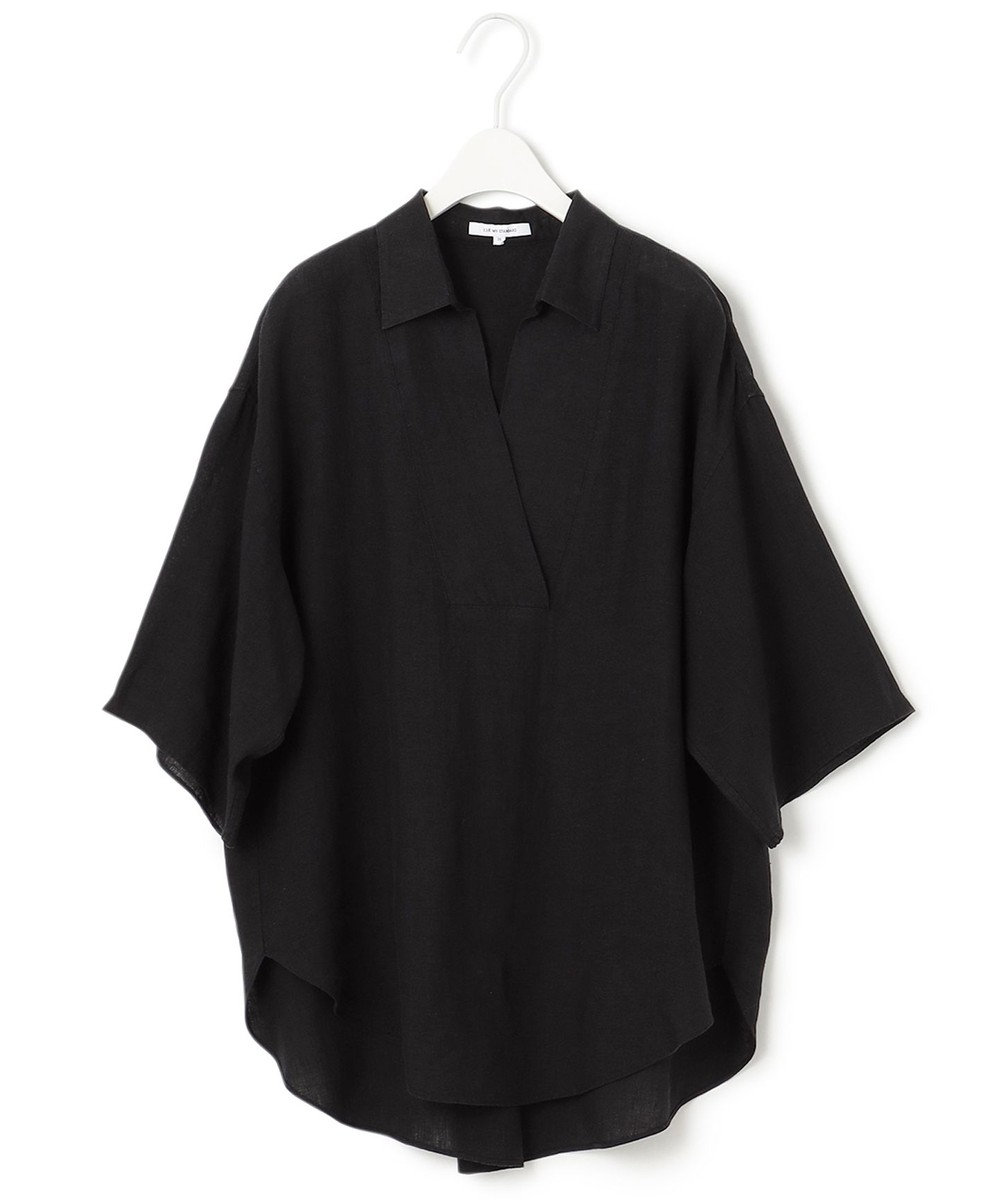 23区 【一部店舗限定】LIBECO スキッパー シャツ チャコールグレー系