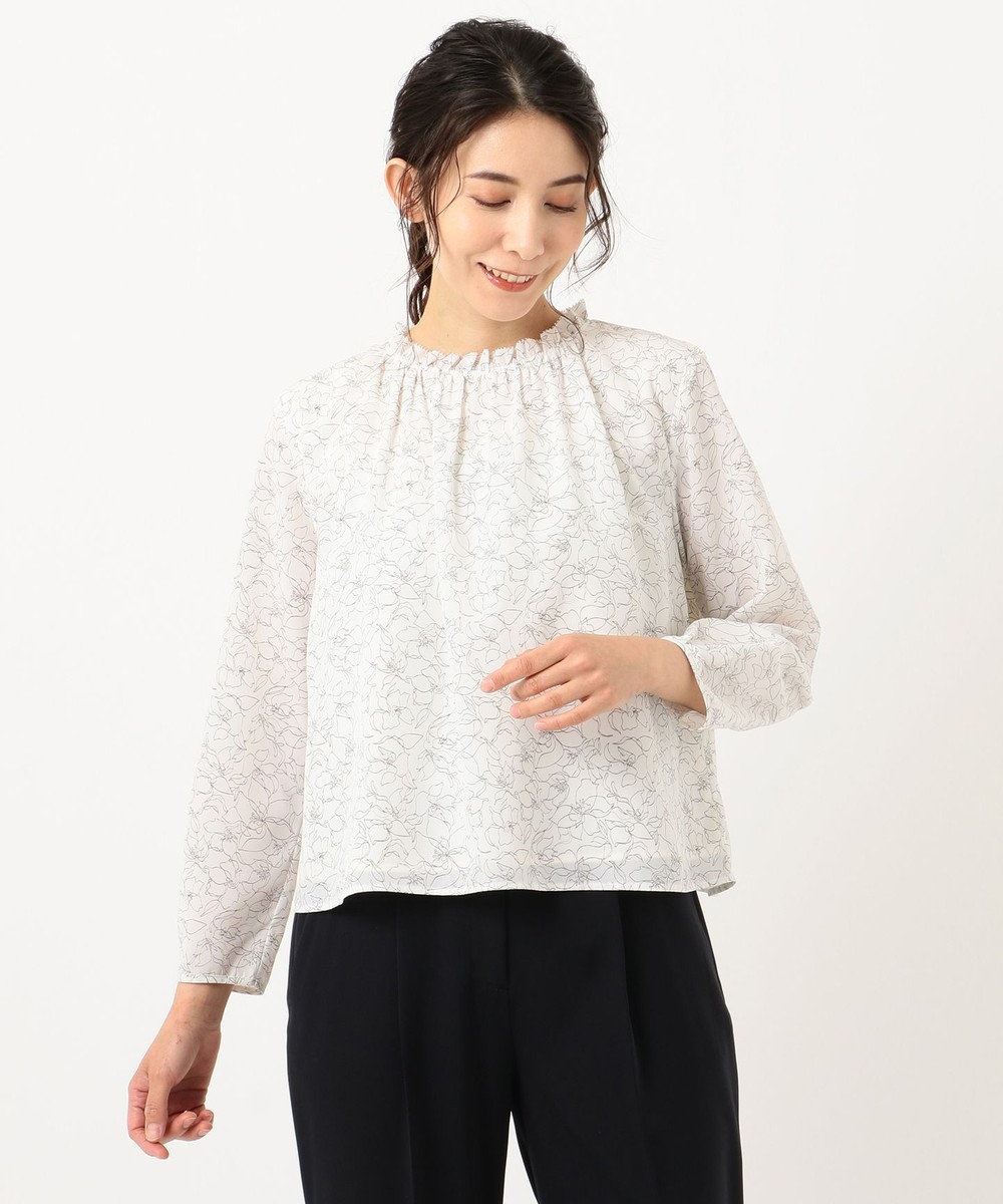 J.PRESS LADIES L 【洗える】ラインフラワープリント ツインセット ピンク系