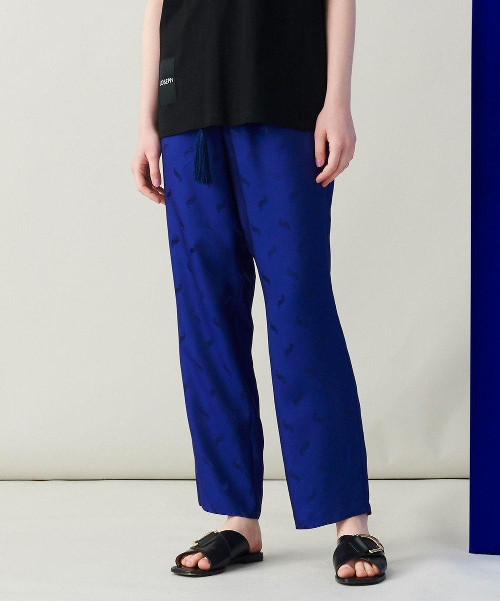 JOSEPH 【 柚香 光さん着用・洗える】ベルベルジャガード クロップドパンツ ブルー系