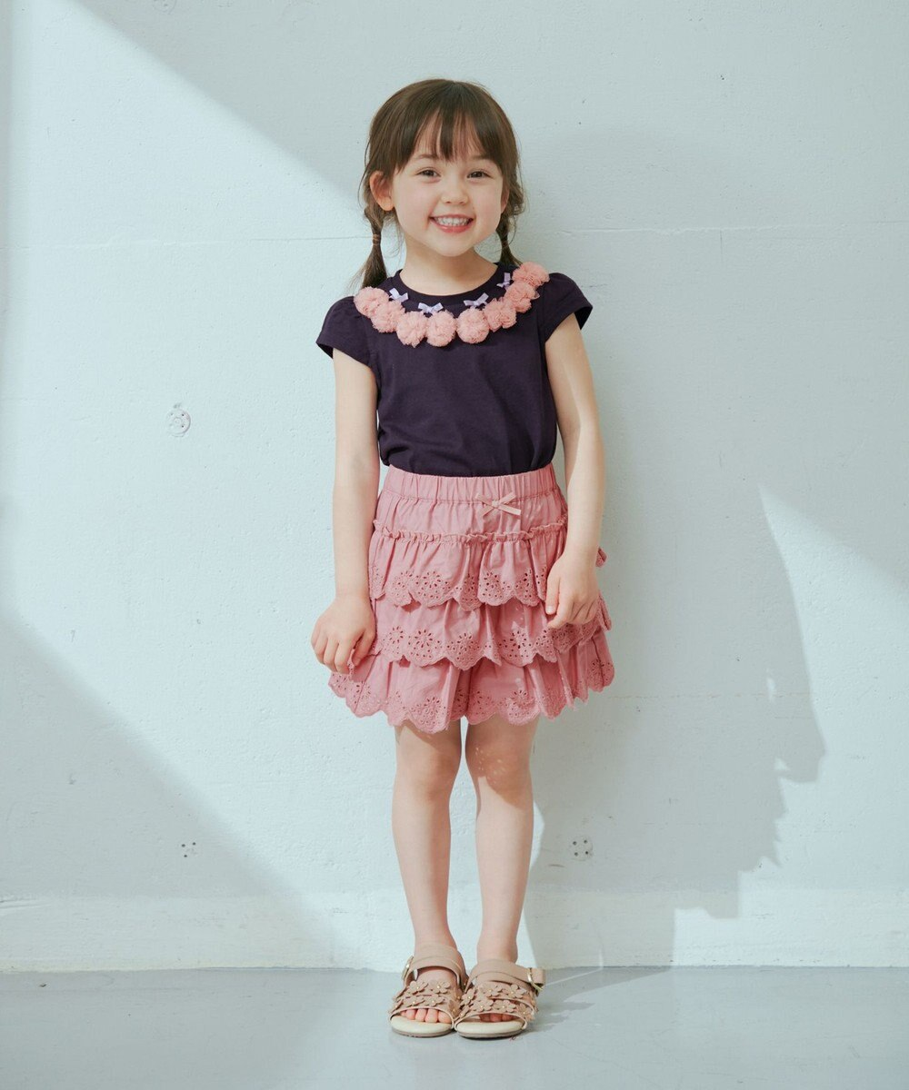 any FAM KIDS レースティアード キュロット ピンク