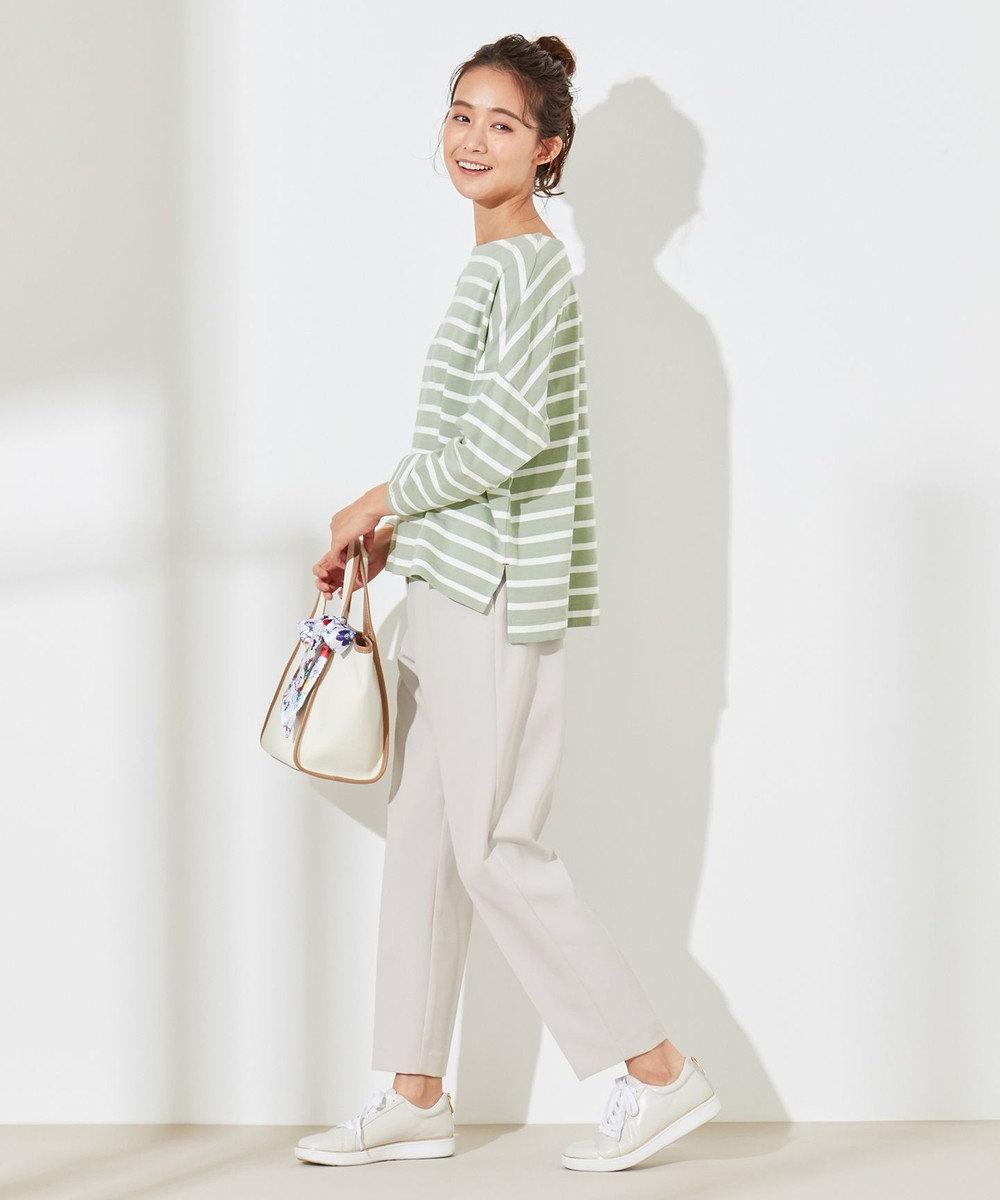 any SiS S 【L'aube】 バスクシャツ カットソー ライトカーキ×オフ
