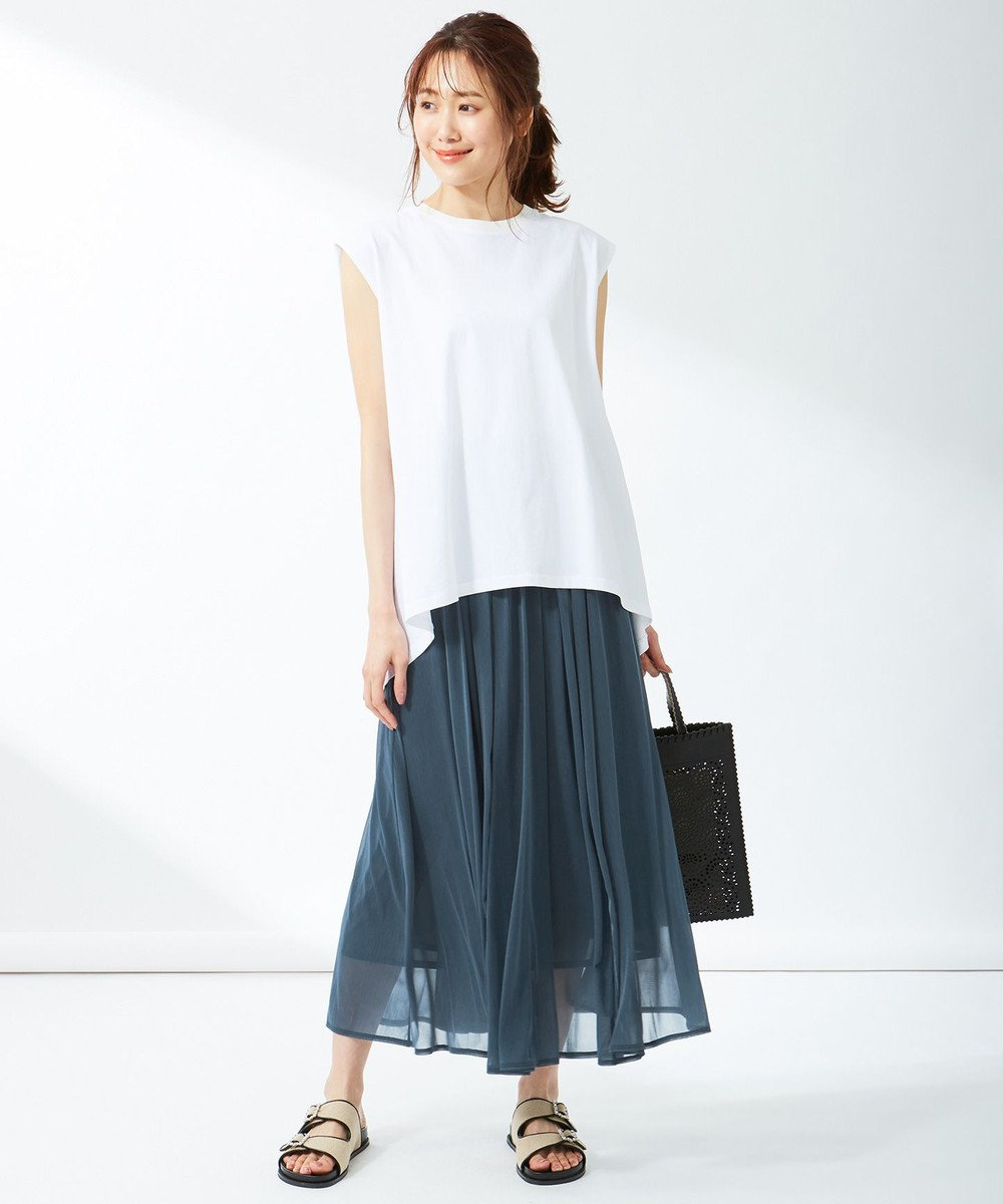 組曲 L 【洗える】シアージャージ フレアスカート ブルー系