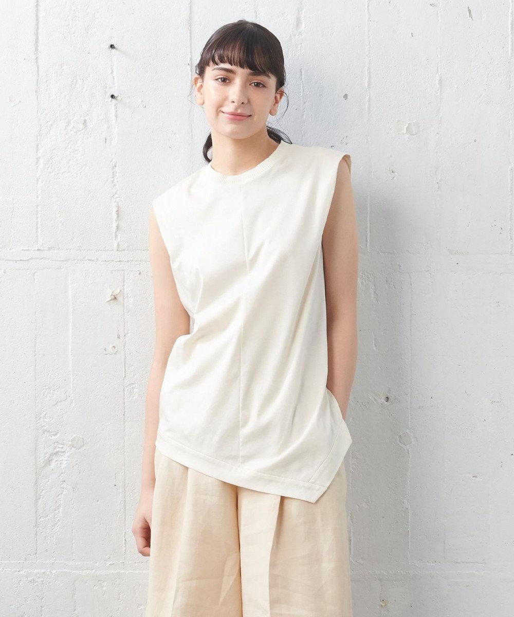 JOSEPH STUDIO 【洗える】ソフィアコットン ノースリーブTシャツ ライトオレンジ系