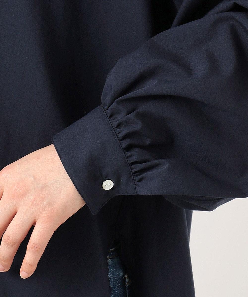 組曲 L 【洗える】JFバンブー混ローン 襟付き ブラウス ネイビー系