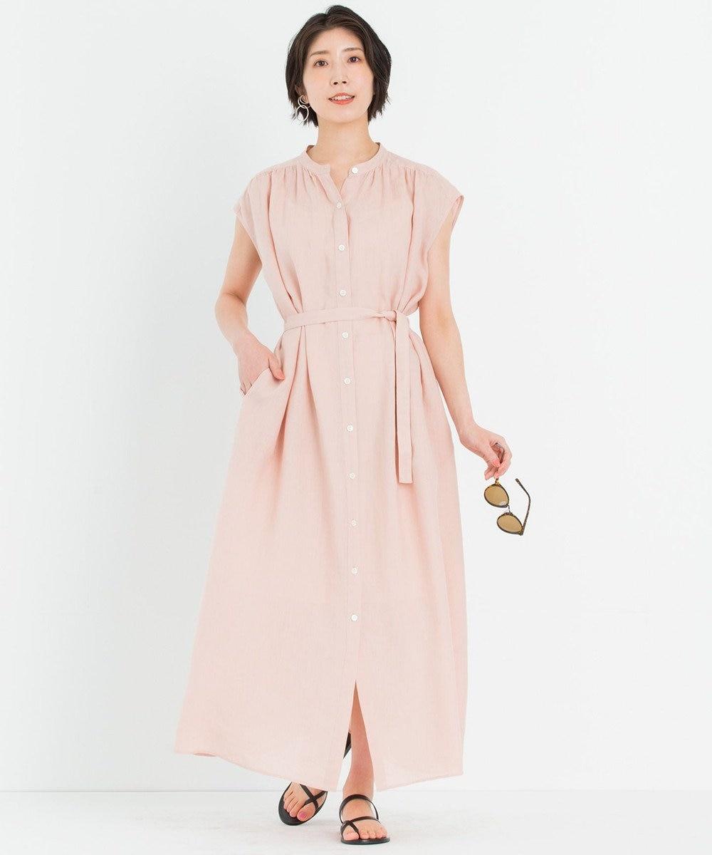 23区 【一部店舗限定】LIBECO シャツ ワンピース ローズ系