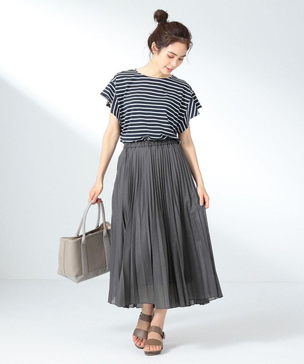 any FAM L 【優木まおみ着用】【洗える】ツイストボイルダブル  プリーツスカート グレー系