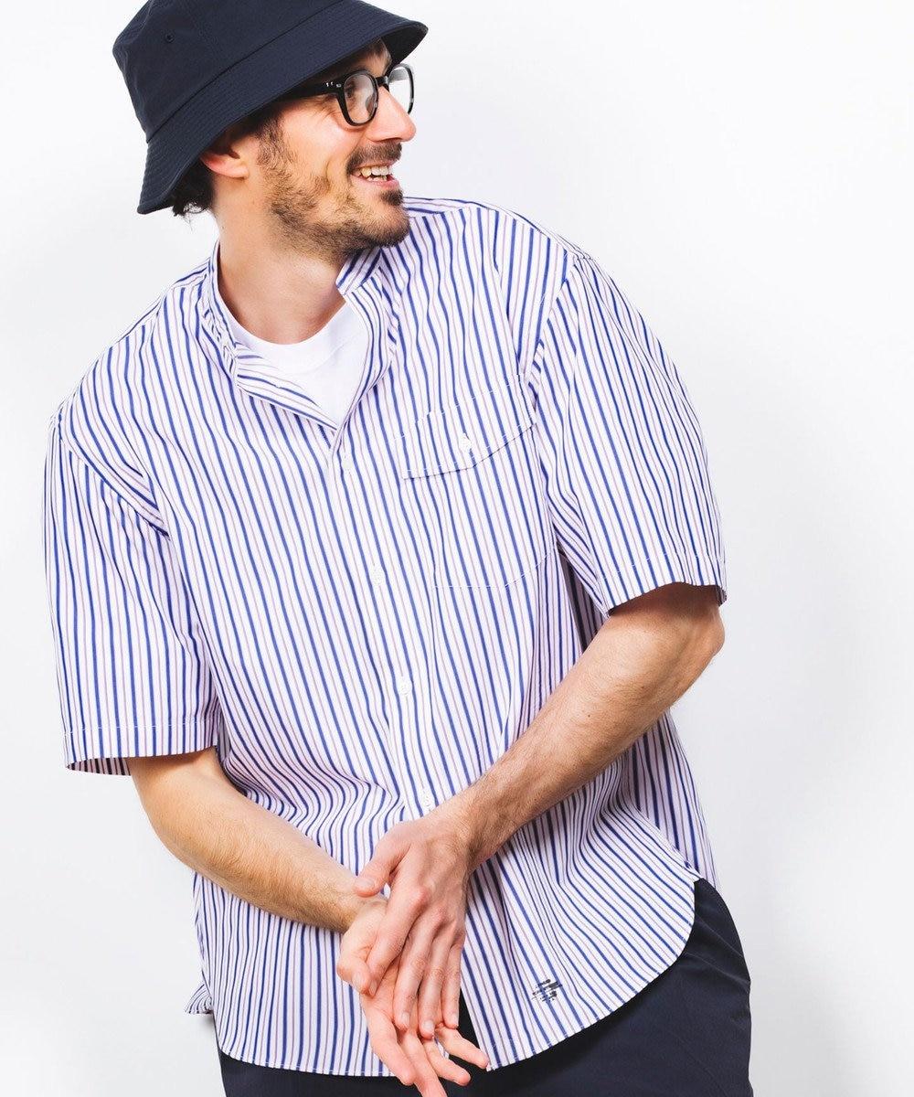 J.PRESS YORK STREET 【UNISEX】ブロードストライプ バンドカラーシャツ ネイビー系1
