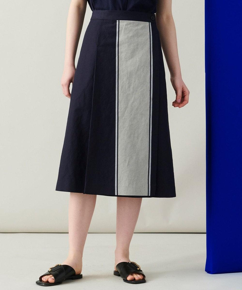 JOSEPH 【洗える】マロック ストライプ スカート ネイビー系1