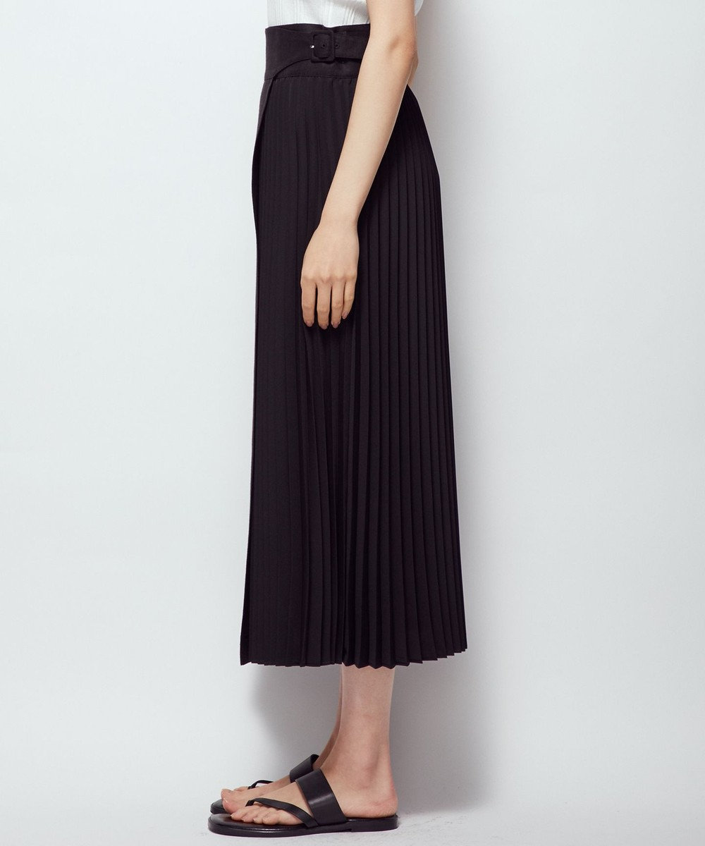 uncrave 【追加販売】ライトリネン プリーツスカート ブラック