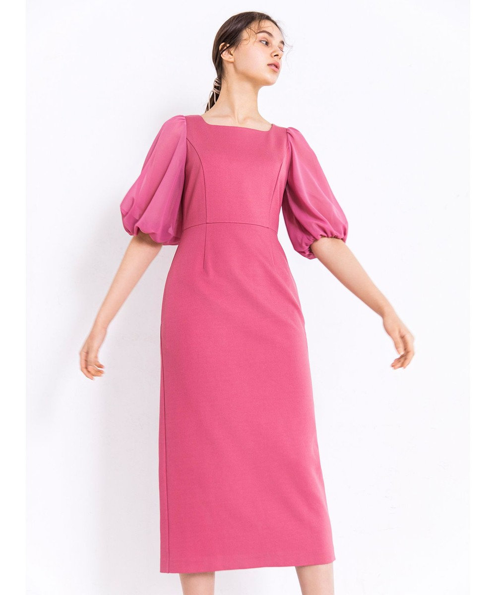TOCCA 【TOCCA LAVENDER】Puff Sleeve Jersey Dress ドレス ストロベリーピンク