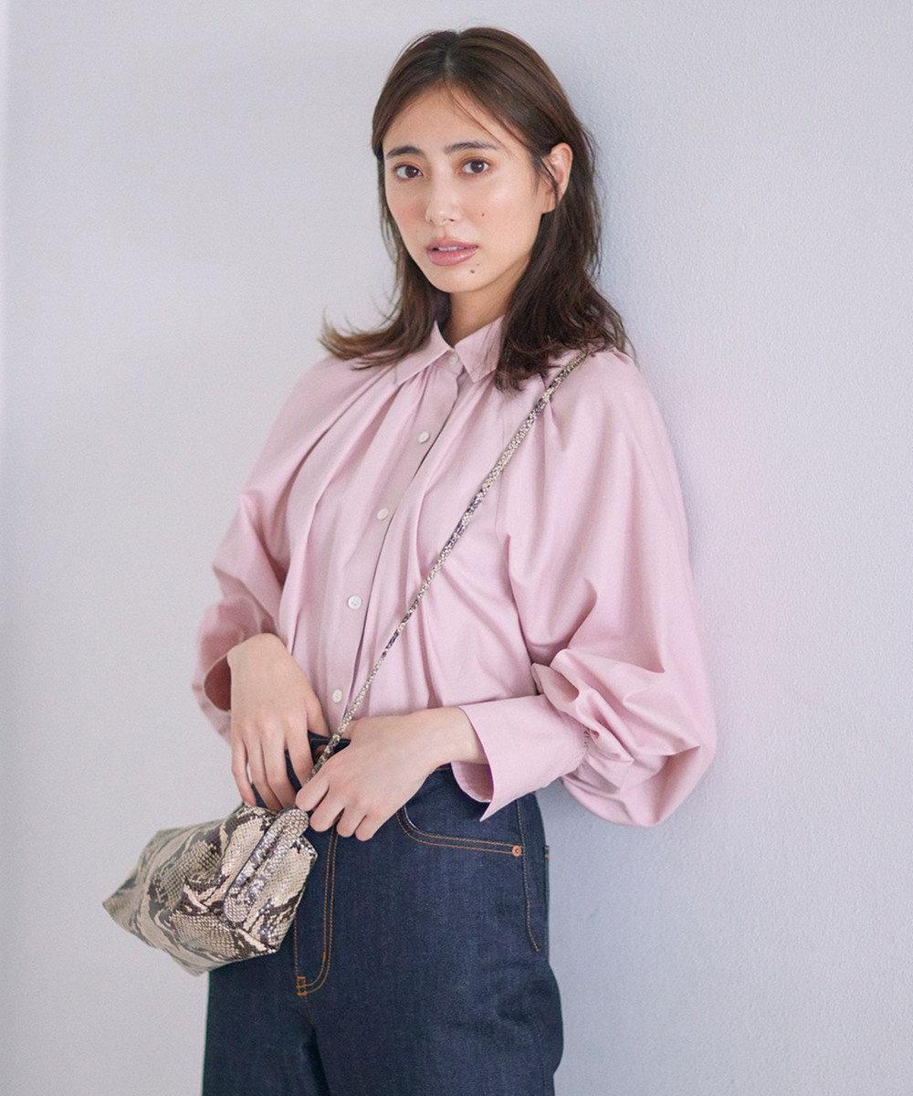 23区 S 【マガジン掲載】CANCLINI ギャザー シャツ(番号2G34) ピンク系
