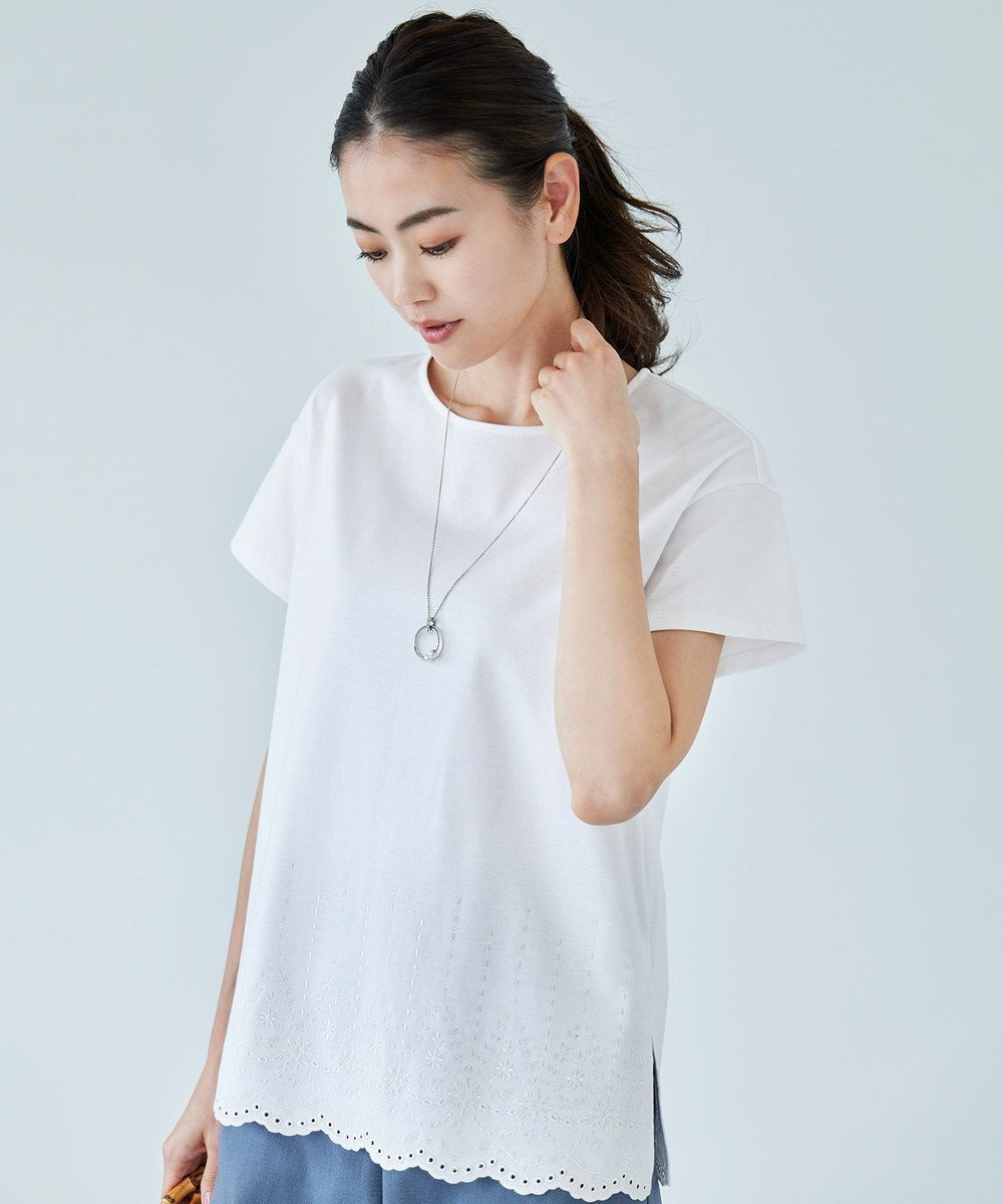 J.PRESS LADIES L 【UVケア・消臭効果・接触冷感】コンパクトコットンスムース 裾刺繍 カットソー ホワイト系