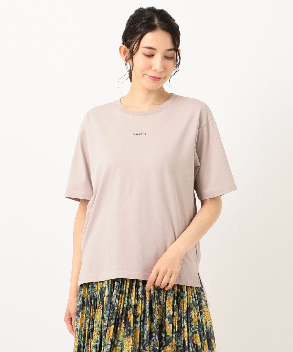 any FAM 【オーガニックコットン】オーガビッツロゴ Tシャツ ベージュ系