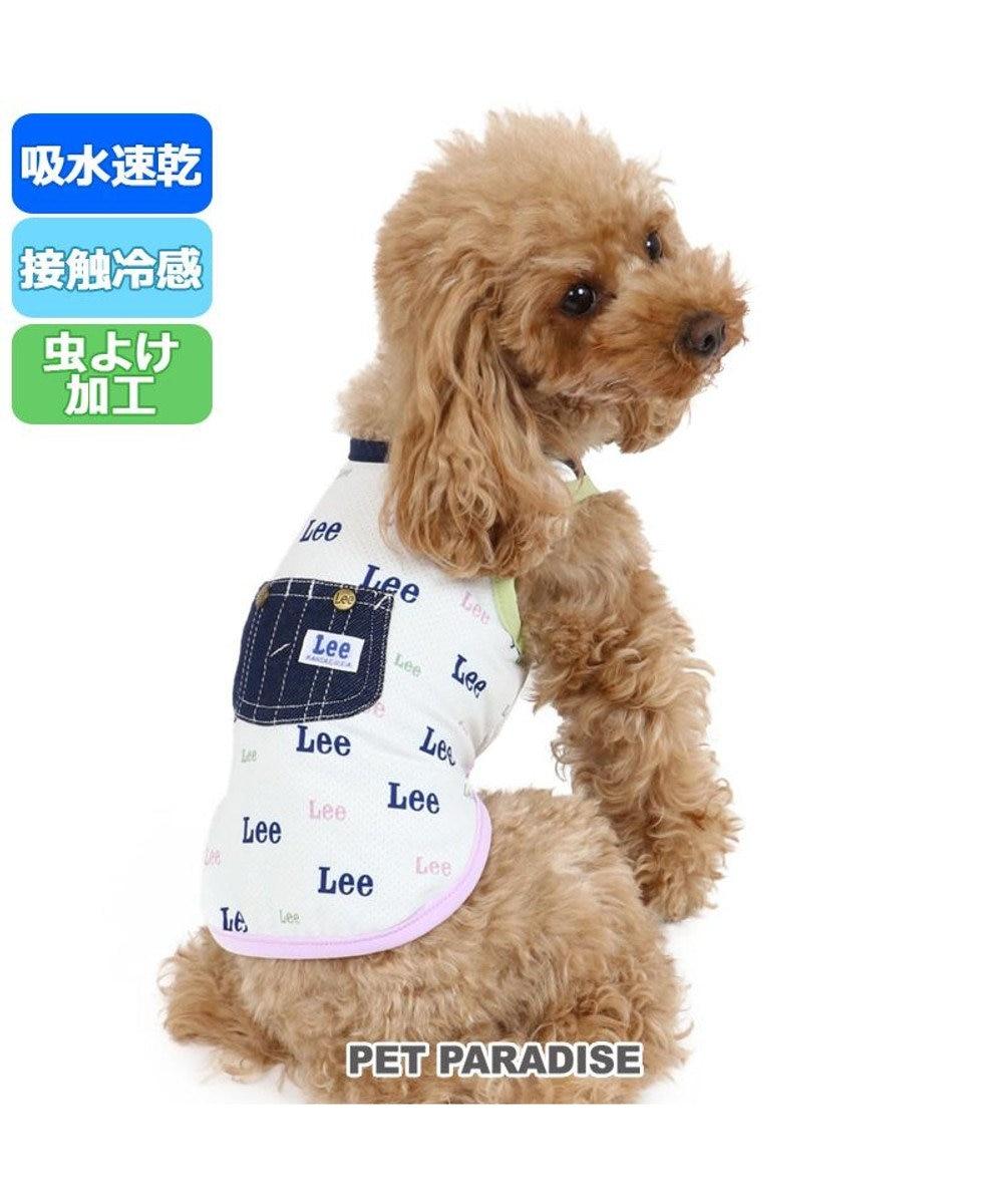 PET PARADISE 犬服 犬 服 ペットパラダイス Lee クール 接触冷感 虫よけ ロゴ総柄 タンクトップ 〔小型犬〕 超小型犬 小型犬 メッシュ ひんやり 夏 涼感 冷却 吸水速乾 クールマックス 水色
