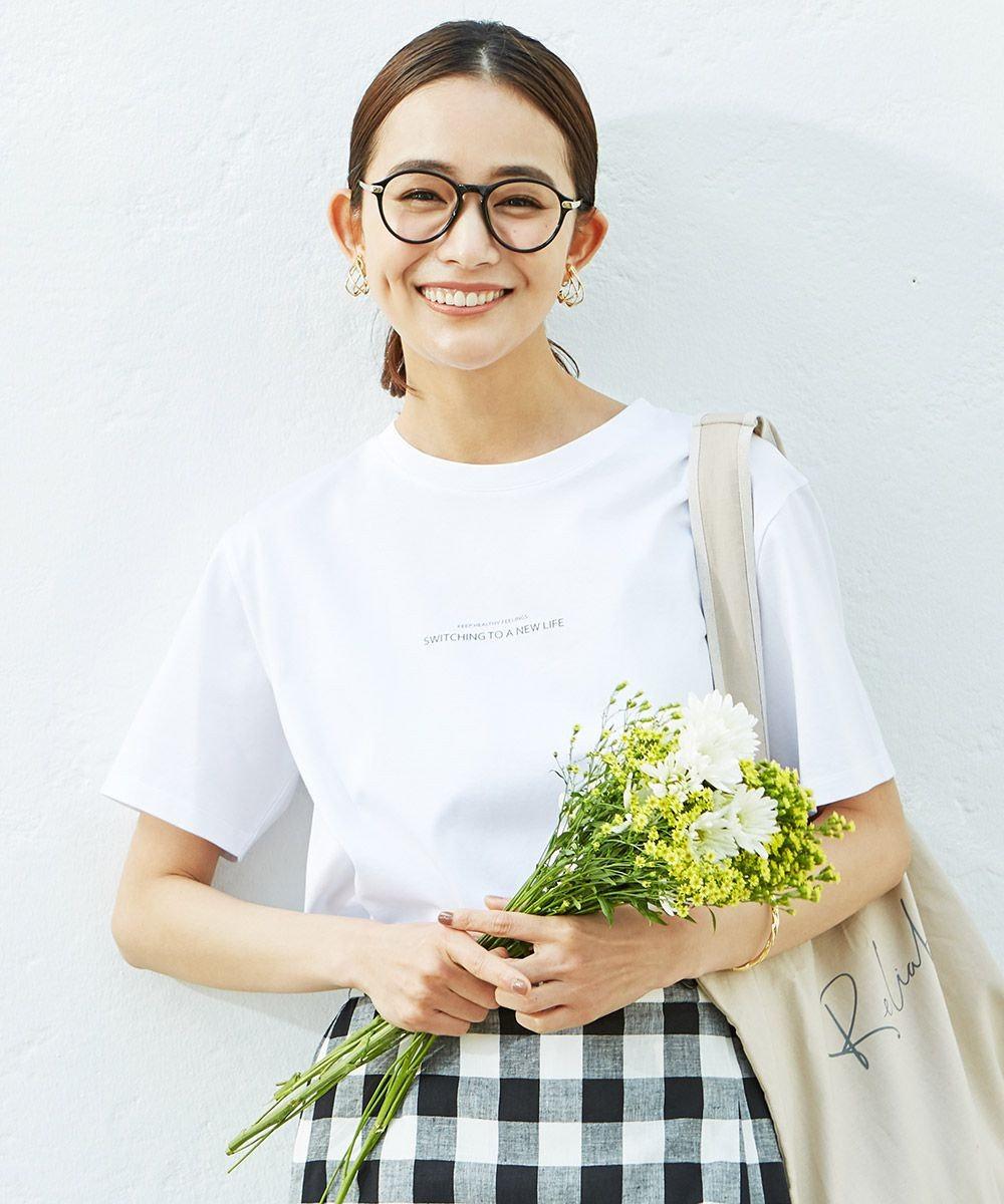 J.PRESS LADIES S ミニロゴ Tシャツ ホワイト系