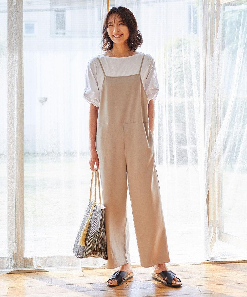 any FAM 【UVケア・接触冷感】リネンライクキャミ ロンパース ブラウン系