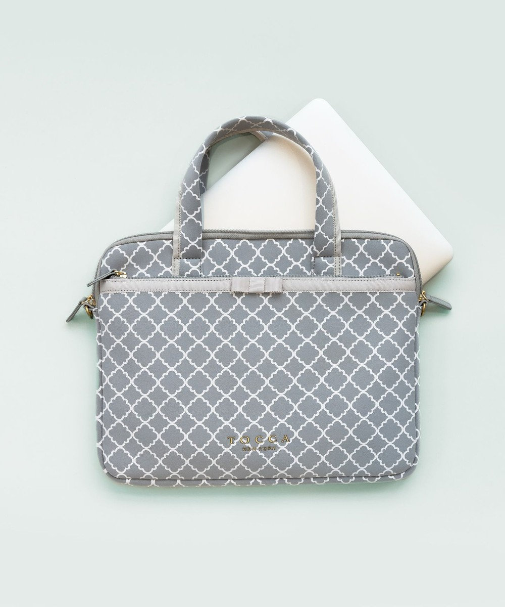 TOCCA CHECKERCLOVER PC BAG PCバッグ ライトグレー系