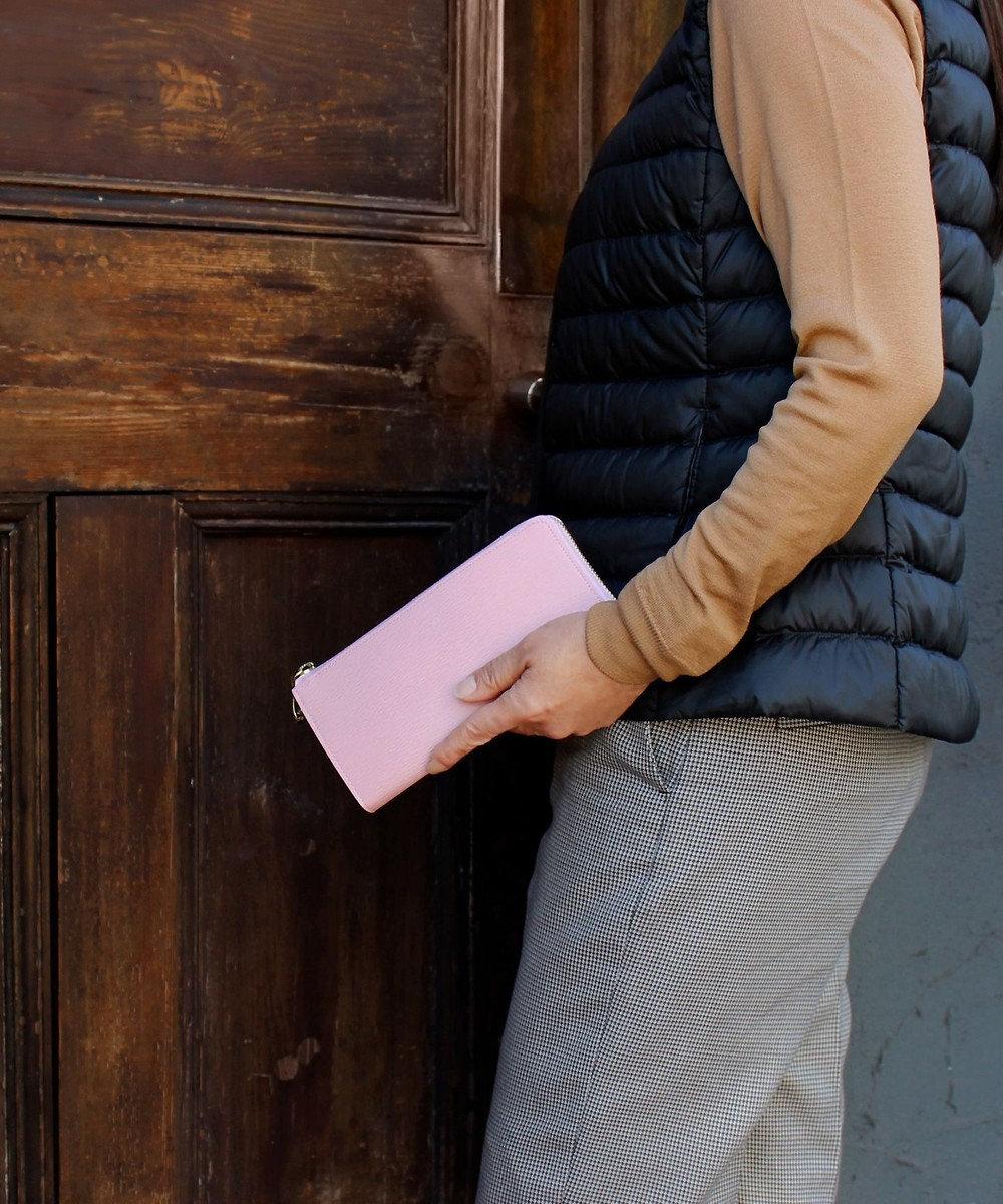 CYPRIS 【WEB限定仕様】リサッカ 日本製 型押し牛革L字ファスナーハニーセル長財布 ペールピンク[07]