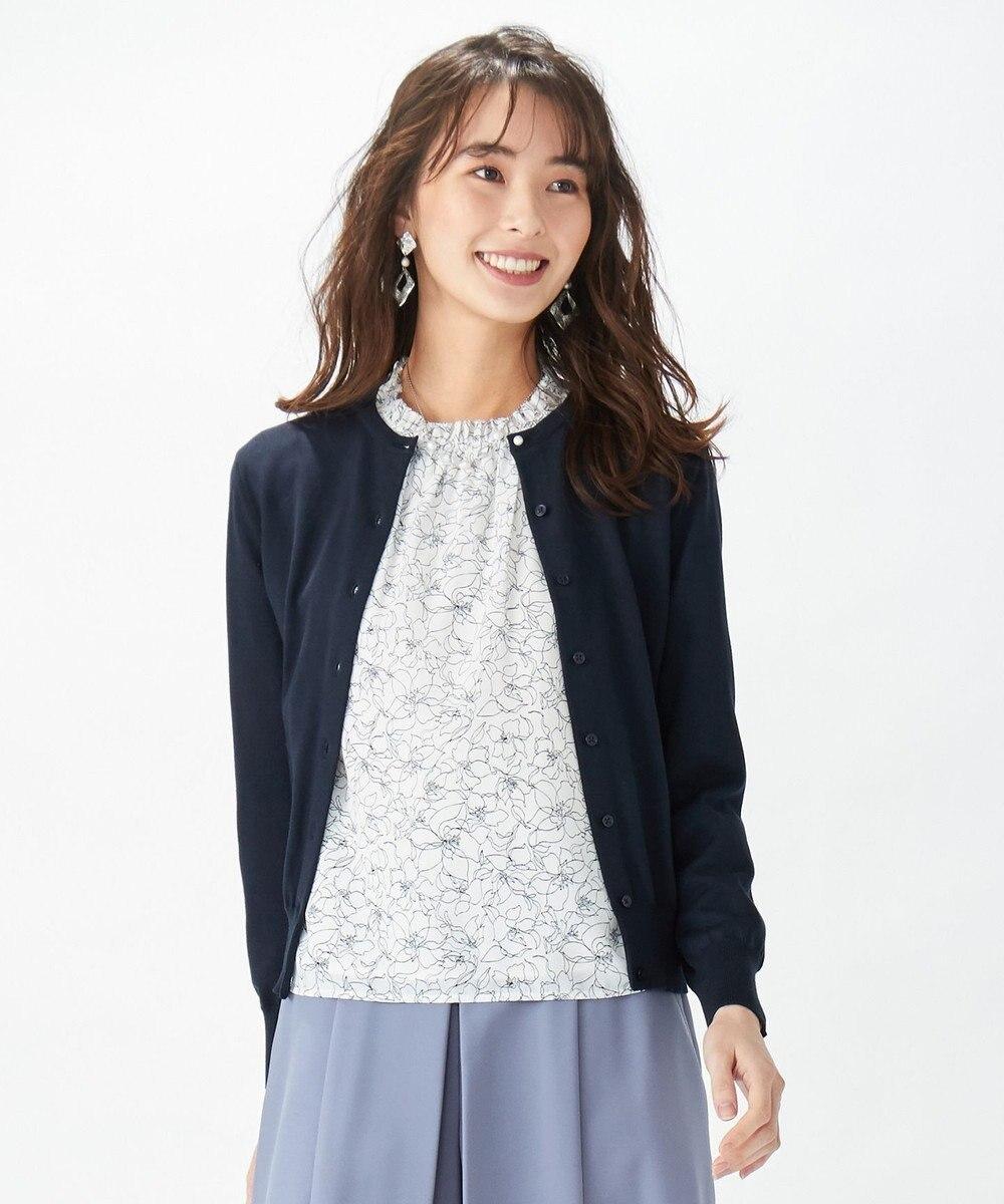 J.PRESS LADIES L 【洗える】ラインフラワープリント ツインセット ネイビー系