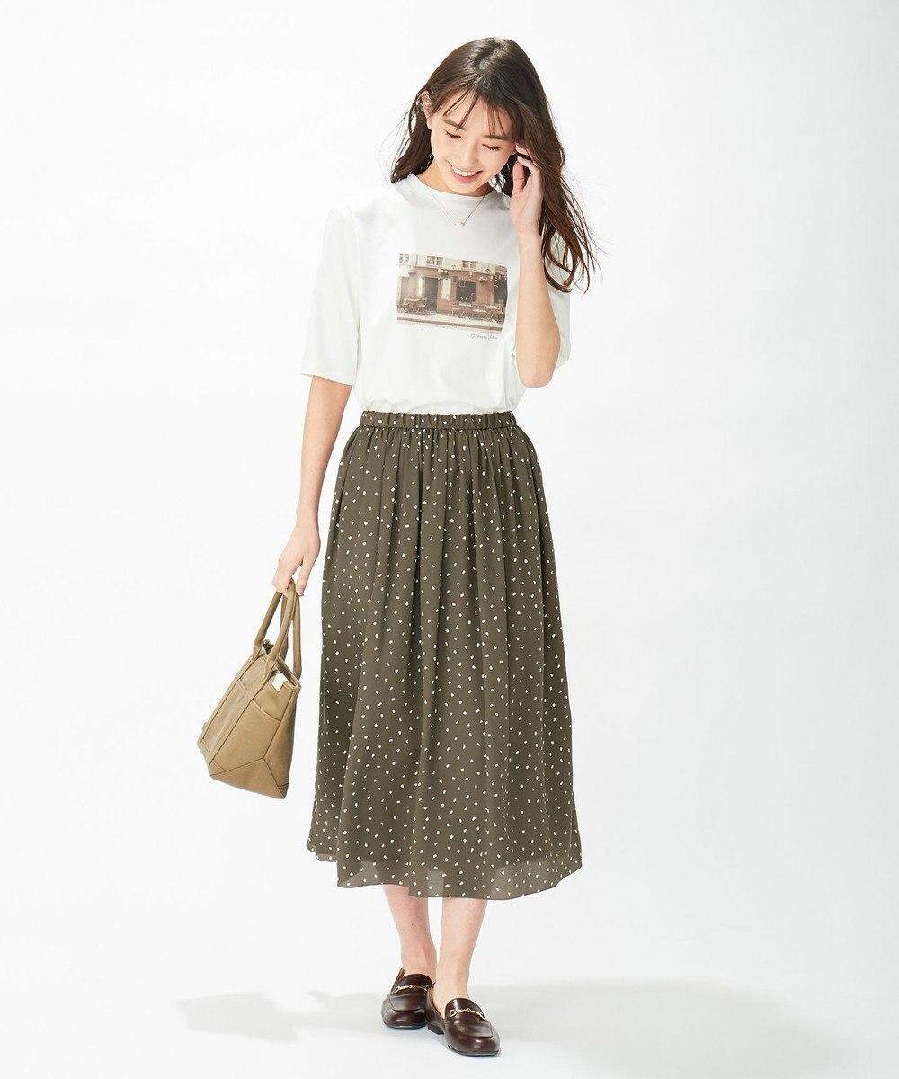 J.PRESS LADIES 【洗える】ポリエステル デシンハケメプリント フレアスカート ブラウン系5