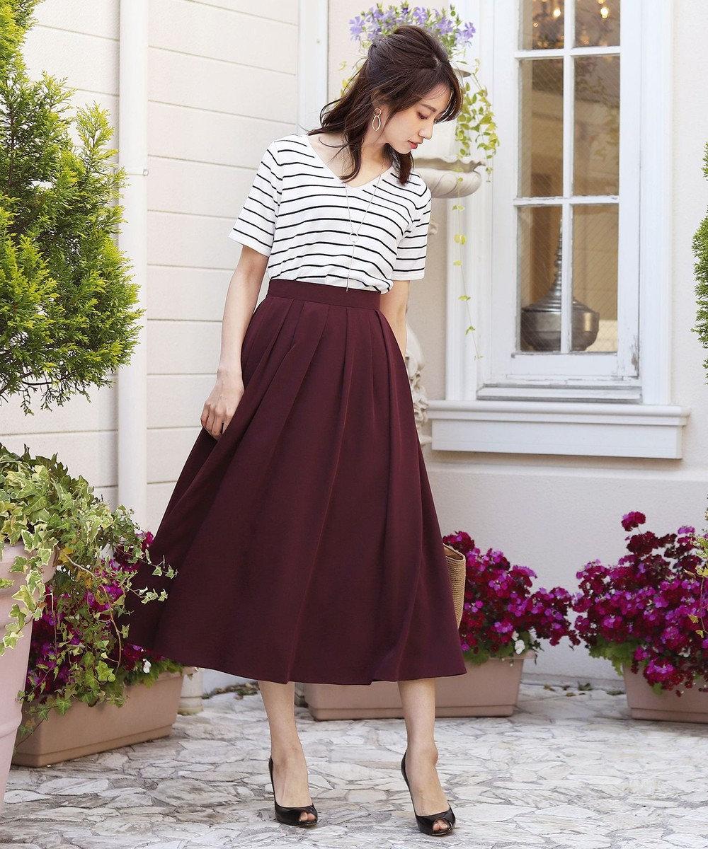 Tiaclasse 【洗える】きれい色で彩る、大人のマキシ丈フレアスカート ボルドー