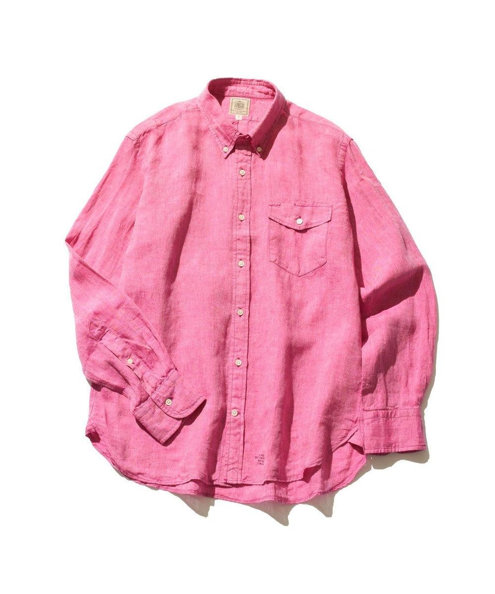 J.PRESS MEN ノルマンディーリネンショートポイント ボタンダウンシャツ ピンク系