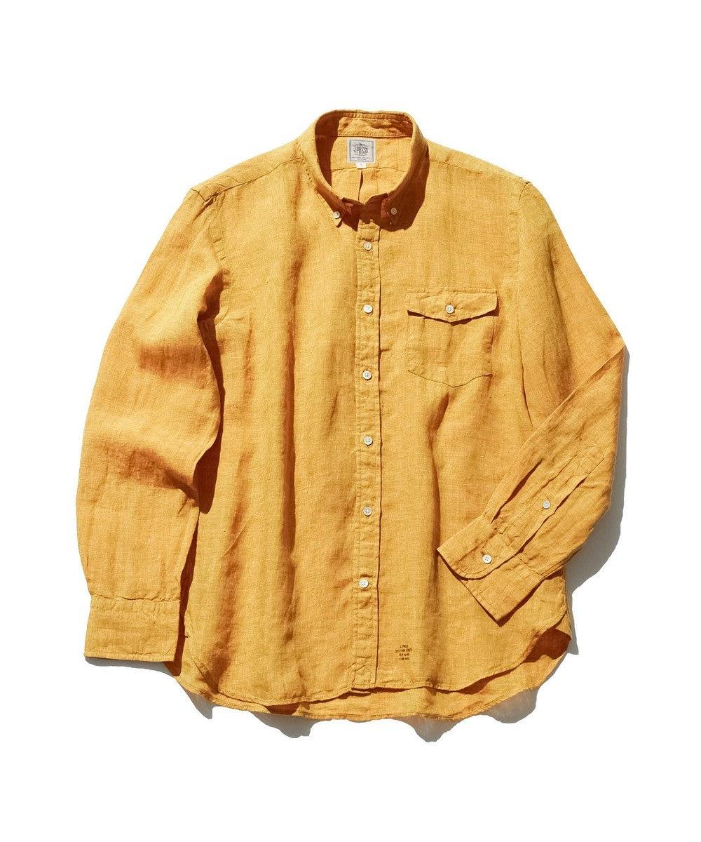 J.PRESS MEN ノルマンディーリネンショートポイント ボタンダウンシャツ イエロー系