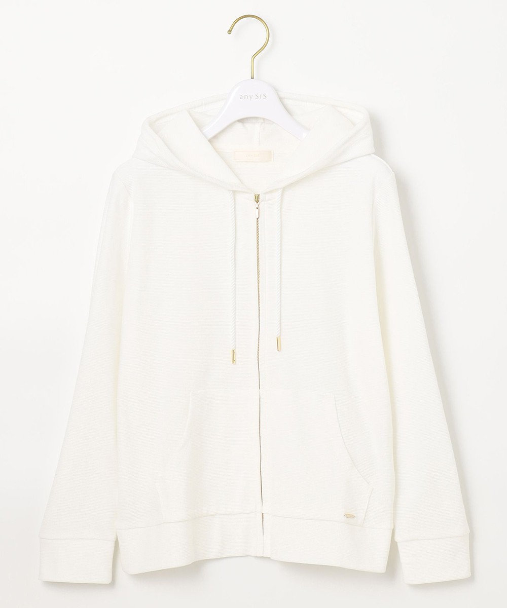 any SiS L 【UVケア】ミニボーダー パーカー ホワイト系
