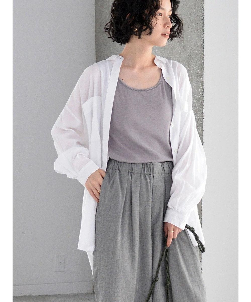 AMERICAN HOLIC Wポケットバックタックシャツチュニック Off White