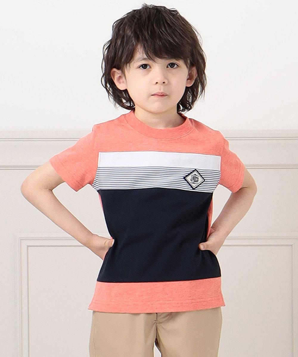 J.PRESS KIDS 【140-170cm】40/2天竺ブロッキングTシャツ レッド系