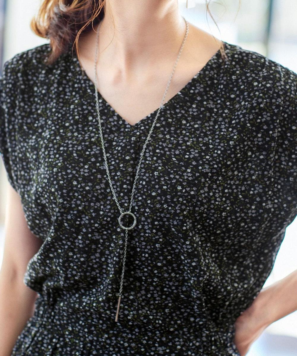 Tiaclasse 【洗える】程良い透け感のシフォン花柄フレンチワンピース ブラック
