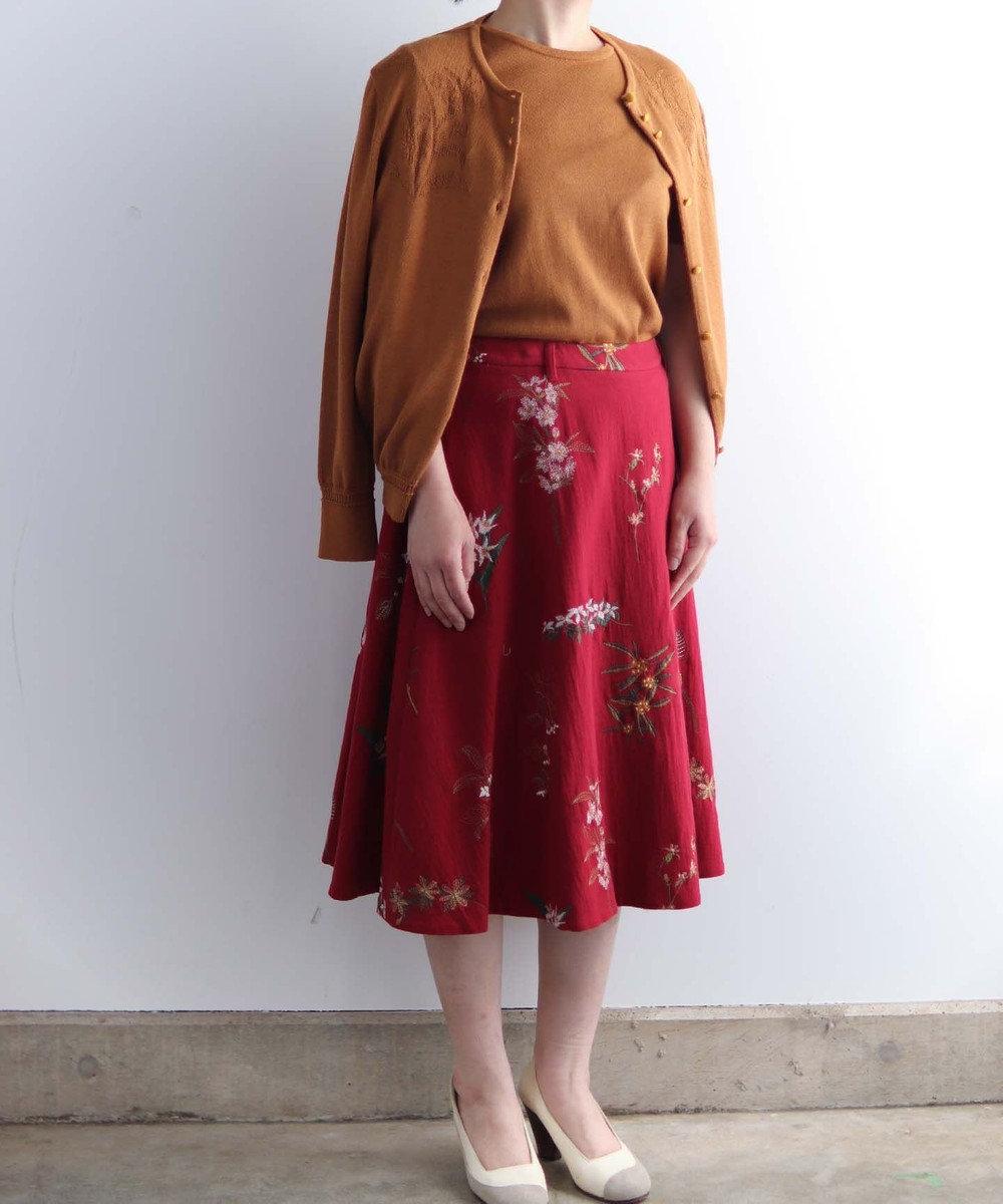 muuc 果実花刺繍のスカート レッド