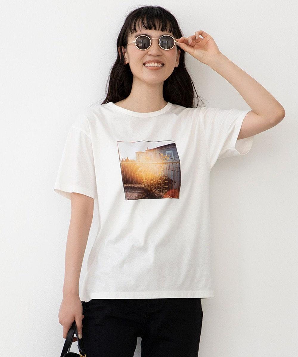 自由区 旅するフォト Tシャツ ホワイト系2