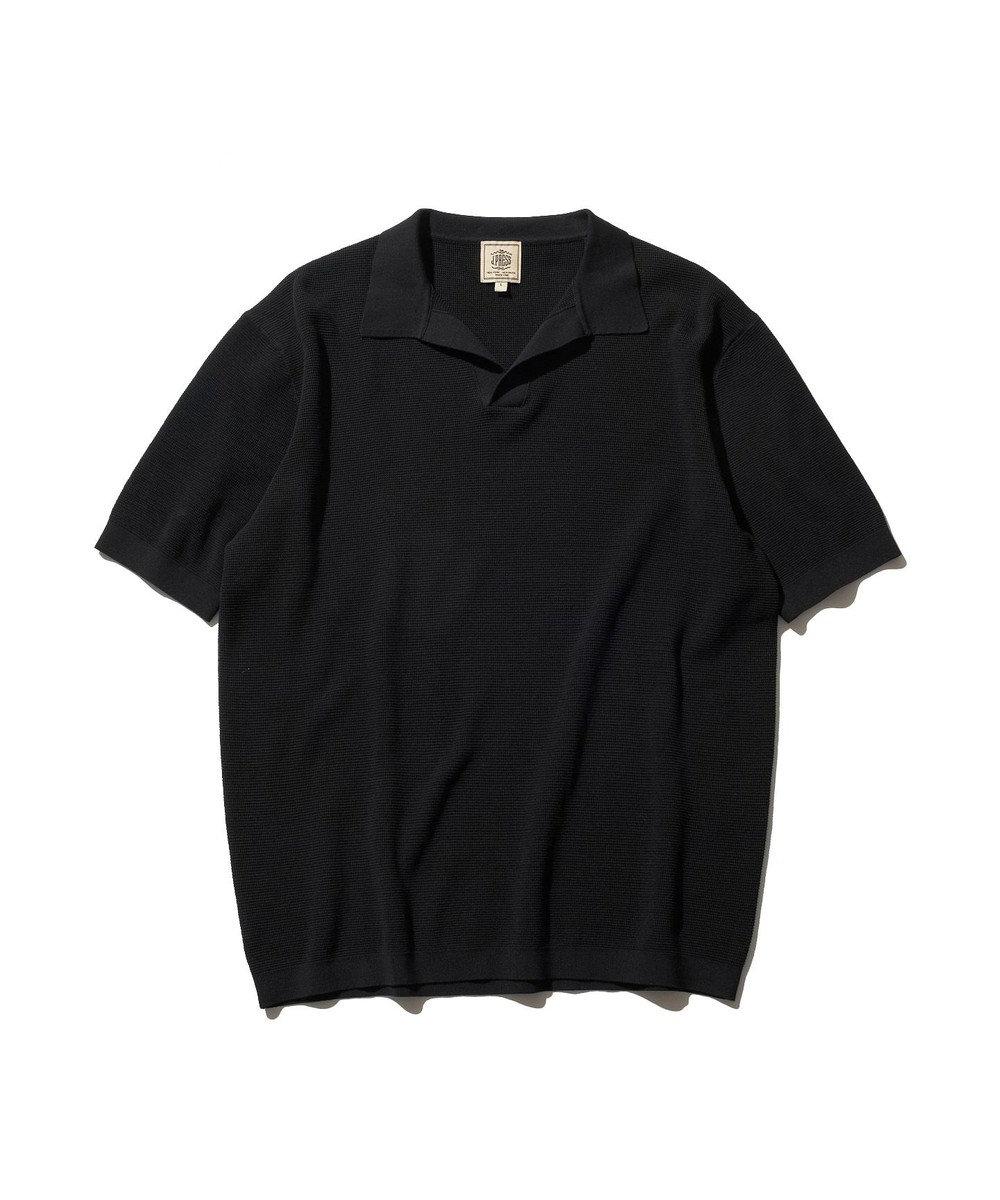 J.PRESS MEN ハイゲージニット スキッパーポロシャツ ブラック系