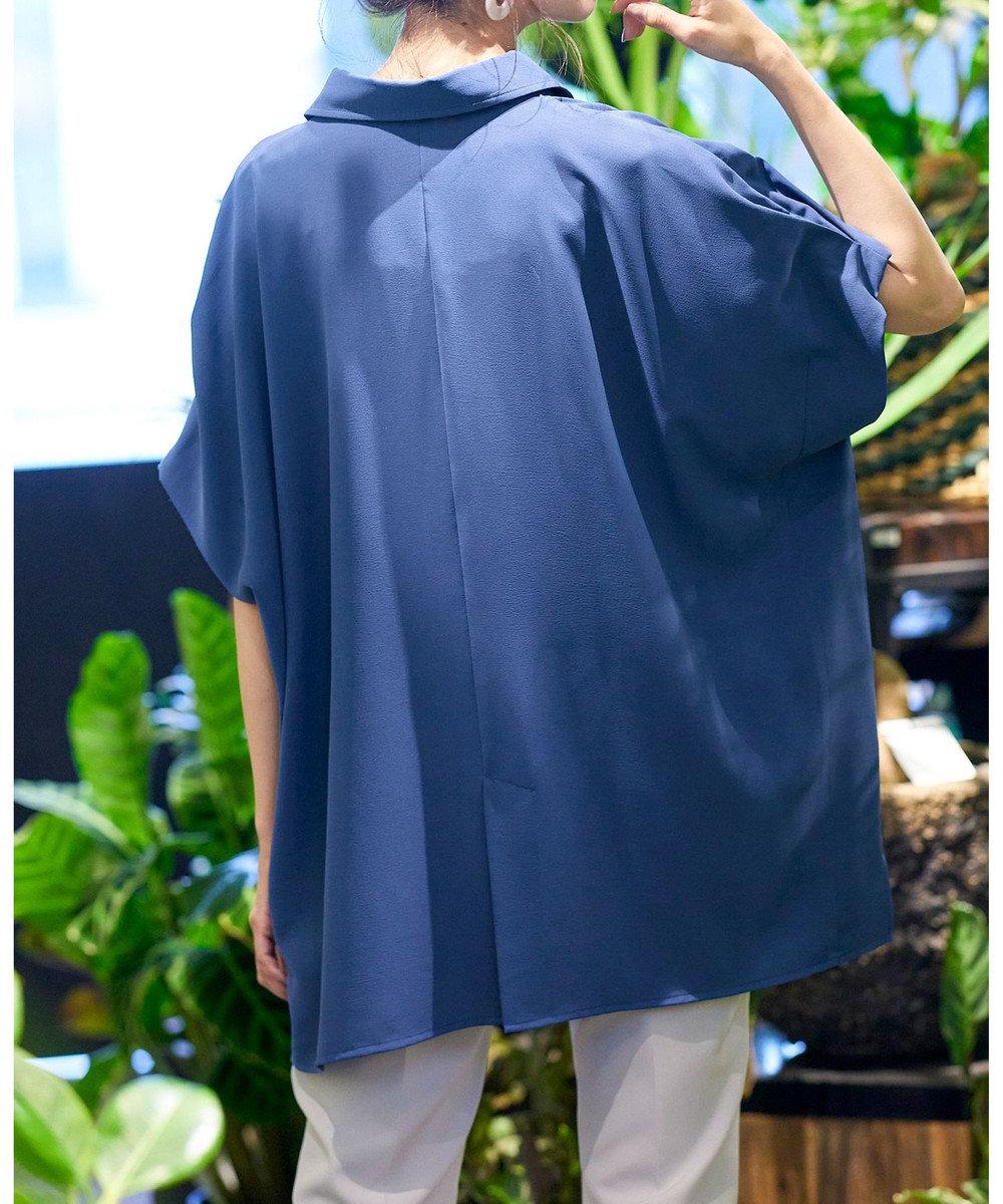 Tiaclasse 【洗える】小顔効果も叶うドルマンシャツチュニック ブルー