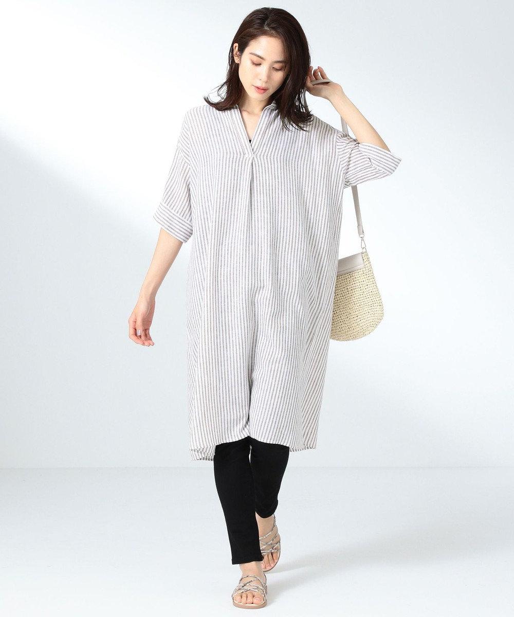 any FAM L 【定番人気】リネンブレンド ワンピース ベージュ系1