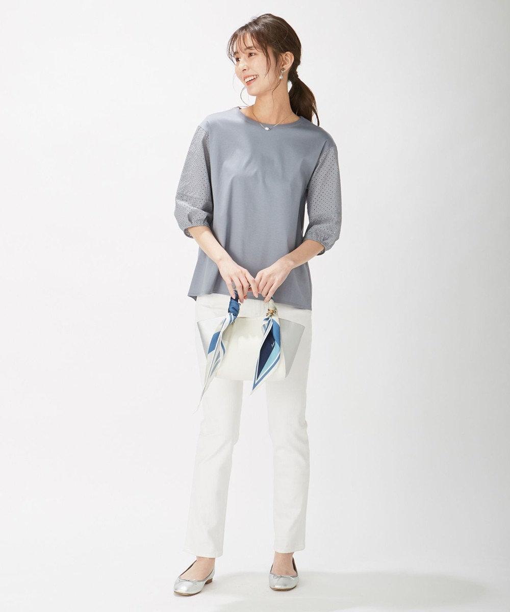 J.PRESS LADIES スムースジャージー 刺繍袖 カットソー サックスブルー系
