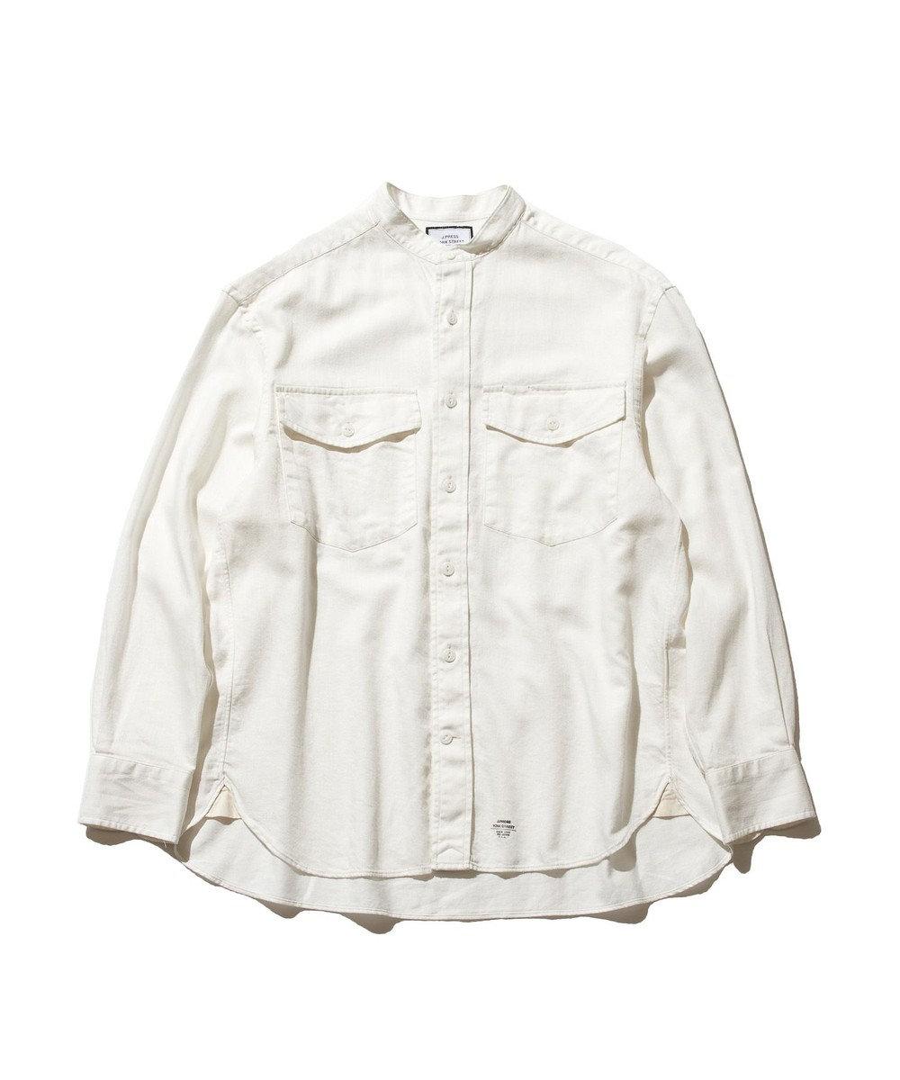 J.PRESS YORK STREET 【UNISEX】ライトツイル バンドカラーシャツ ホワイト系