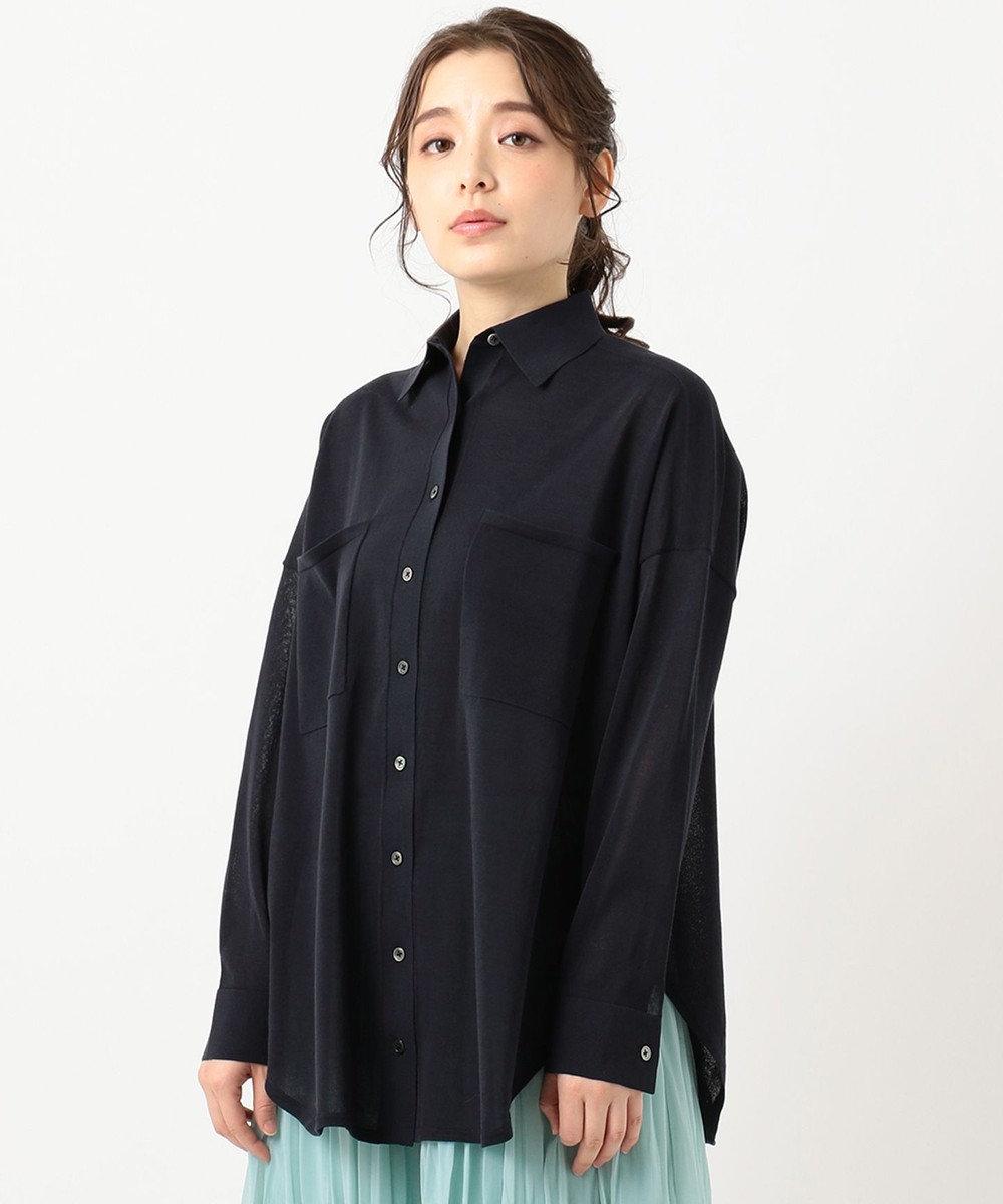 組曲 【洗える】CO/NY シアーニット シャツ ネイビー系