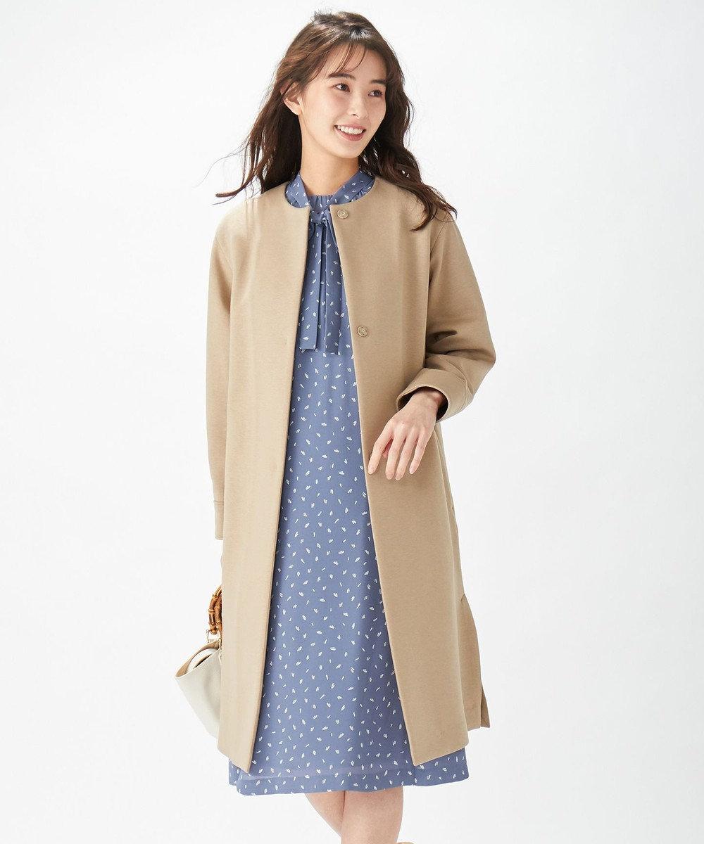 J.PRESS LADIES 【洗える】マイヴィスダンボール ノーカラー コート ベージュ系