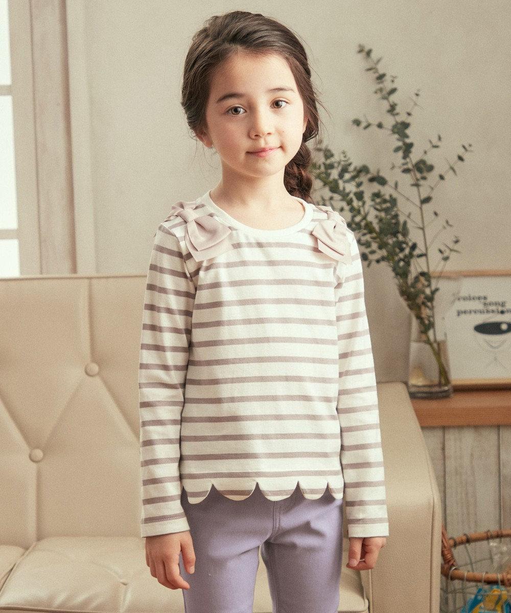 any FAM KIDS ボーダー裾スカラップ 長袖Tシャツ ライトグレー系1