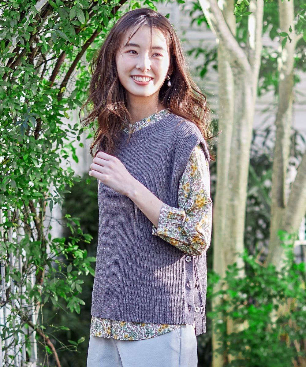 J.PRESS LADIES 【洗える】リネンコットン片畦ベスト ブラウン系